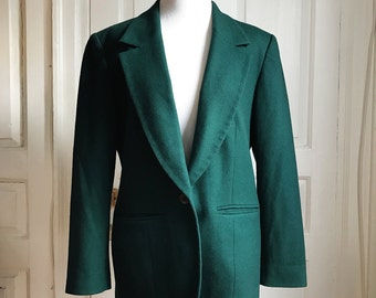 1980s / 80s Vintage Pendleton Forest Green Wool Blazer • Size M/L
