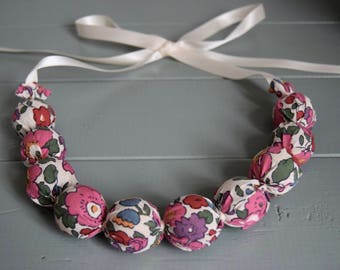 Handmade Fabric Bead necklace - liberty fabric - pinks floral