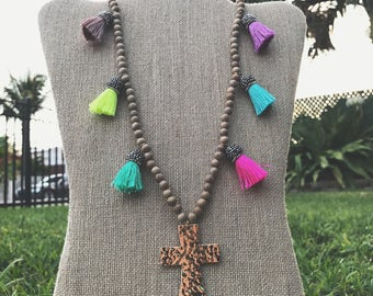Wood Necklace with Hammered Gold Cross + Mini Pavé Tassels