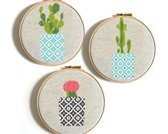 Cross Stitch Pattern Modern Cross Stitch Cactus Floral Natural Flower Embroidery Wall Decor Birthday Gift Geometric Printable PDF Pattern