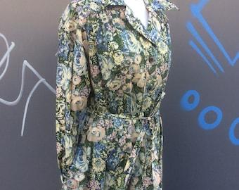 Liberty of london for elgee vintage 70/80s shirt waister coat dress | size med/large