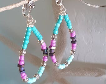 CLIP ON ~ Beaded Teardrop Earings