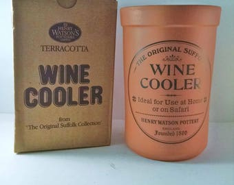 Terracotta Wine Cooler by Henry Watson Pottery Suffolk England in original box ~ never used