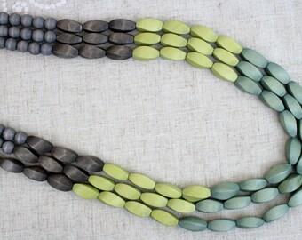 fait la main collier en bois vert marron en bois naturel perles perles parfait cadeau pour elle anniversaire de 5 ans maman femme sur 2962
