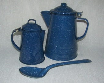 Blue enamel Spatterwear coffee pots and spoon