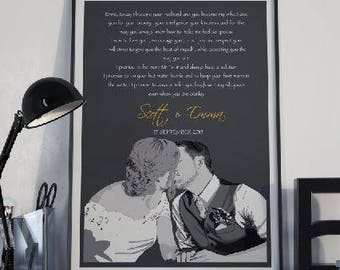 Wedding vows keepsake, Wedding vows poster, Vows wall art,First Year Anniversary gift,Valentines Day gift, Gift for Wife
