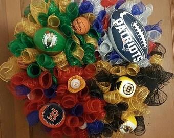 Hand Made Boston Red Sox, New England Patriots, Celtics and Bruins Deco Mesh Wreath
