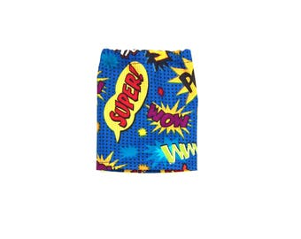 Mini Skirt, Superhero, Blue, Red, Black, Yellow, Fits dolls such as AG Wellie Wishers Doll Clothes, 14.5 inch