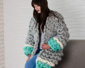 100% Merino wool oversized chunky knit jacket, Super chunky Jacket, Super bulky Knitwear, Super chunky knit cardigan, Oversize Jacket