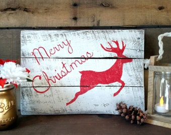 Merry Christmas Reindeer Sign, Holiday Sign, Rustic Christmas Sign