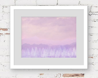 candy minimal mountain art print, abstract landscape print, dreamy landscape, forest wall art,  pink purple print, contemporary girls art