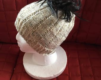 Knitted ponytail hat