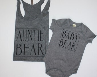 Auntie and Me Set, Auntie Bear and Baby Bear, Obsessed Auntie Matching Shirts