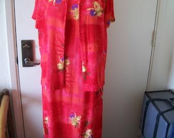 2 PC Vintage Tropical Hawaiian Floral Print Maxi Dress And Matching Jacket Set. Hawaii Maxi Set By Drapers & Damons. Size PS...Sz 8.