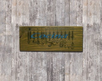 Wood sign kitchen decor stencil-art