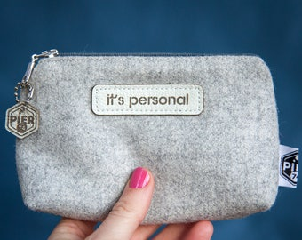 Fabric 'It's Personal' Pochette - Toiletry Bag - Gift For Her - Tampon Case - Fabric Pouch - Cosmetic Bag