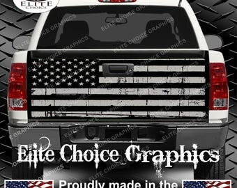 American Flag Distressed Black and Grey Truck Tailgate Wrap Vinyl Graphic Decal Sticker Wrap