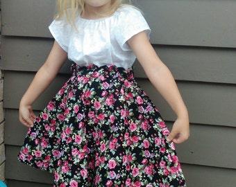 Little Miss Rose Skirt Size 3,4,5,6