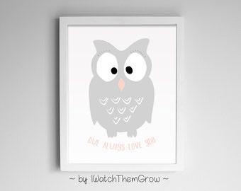 Owl Woodland Nursery Print Printable | Pink and Grey Nursery Art | Baby Girl Wall Art | Woodland Wall Decor 8x10 11x14 A4 INSTANT DOWNLOAD