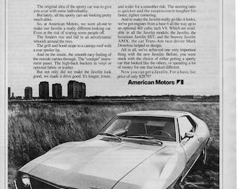 1971 American Motors Javelin vintage magazine ad  wall art man cave
