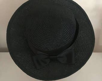 Mini Boater - Black Hat Fascinator