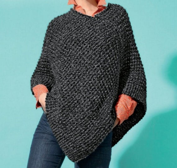 Short Poncho, Easy Knit, Knitting Pattern. PDF Instant Download. from Krohsha...