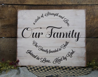 Our Family a circle of Strength and Love. Our Family founded on Faith. Joined in Love. Kept by God. All Wood Slat Sign Rustic Classy Style