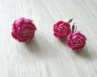 Peony jewelry set, peony earrings, peony ring, peony necklace, handmade peony, handmade flower, flower jewelry, flower earrings, flower ring