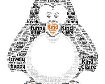 Personalised Penguin Bespoke Unique -  Word Art  Print Any Occasion - Christmas - Birthday - Animal