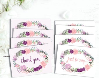 Thank you card set, set of 8 note cards, floral thank you card set, floral wreath note set, just a note cards, thank you cards