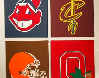 Cleveland Sports Teams Canvas Painting- Indians, Cavs, Browns, Ohio State Buckeyes