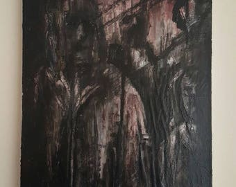 Original Dark Art Oil Painting on Canvas. Highly Textured, Disturbing, Moody, Black, White & blood Red Artwork. 'The Scrutiny of your Peers'