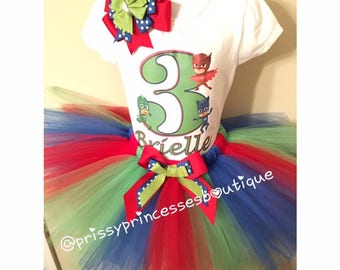 PJ Masks Tutu Set, PJ Masks Birthday Outfit, PJ Masks Birthday Shirt,