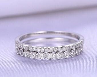 Wedding Band,Half Eternity Diamond Wedding Band,Anniversary Ring,Solid 14k White Gold,Infinity Ring,SI-H Diamond Matching Band,bezel Set