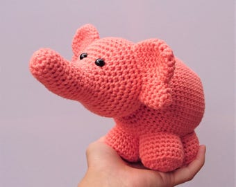 orange crochet elephant toy / amigurumi elephant / elephant softie / elephant toy / elephant soft toy / elephant plushie