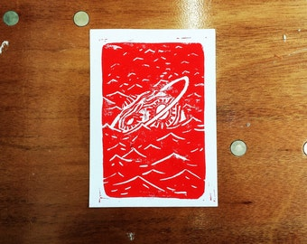planet submerged in the sea // LINO PRINT
