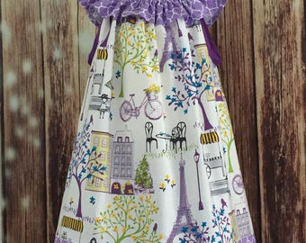 Paris sundress, Eiffel Tower, Paris themes sundress, Girls Paris sundress