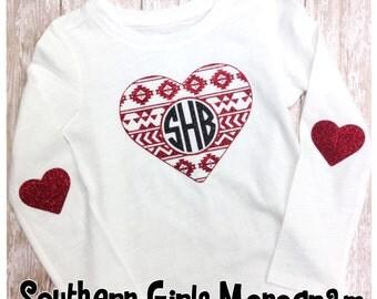 Girls Valentine Shirt - Aztec Heart - Monogram Shirt