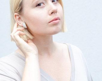 Simple Minimalist Geometric Earrings / Neon Statement Jewellery studs / polymer silver / modern gift contemporary style minimal fashion
