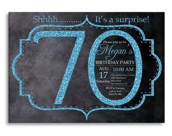 70th birthday invitation, Blue Glitter Birthday Party invite, Adult Surprise Birthday, Elegant, Aqua, Turquoise, Printable digital DIY