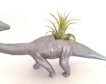 Dinosaur Planter Metallic Silver / Air Plant Holder/ Ionantha /Desk Accessory / Office Decor/ Home Decor/ Hand Made /Perfect Gift