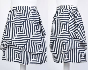 Vintage Fendi size 8 80s layered wrap navy and white stripe wrap mini skirt