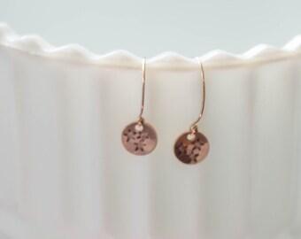 Rose gold tri star earrings Tennessee earrings Tennessee tri star jewelry hand stamped jewelry