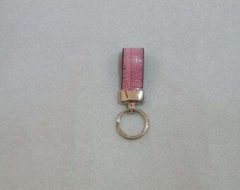 Handmade classic Keyring genuine crocodile. Colors: pink, yellow, blue, and black.