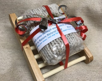Organic Soap Gift Set, Coconut, Wooden Soap Dish, Vegan Gift, Natural Soap,  Gift For Her, Felted Soap, Handmade Soap, Teacher Gift