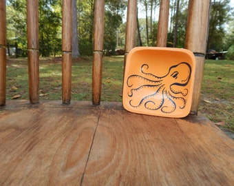 Octopus hand painted wooden mini bowl