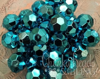 10pc. 20mm Blue Faceted Bling Acrylic Beads