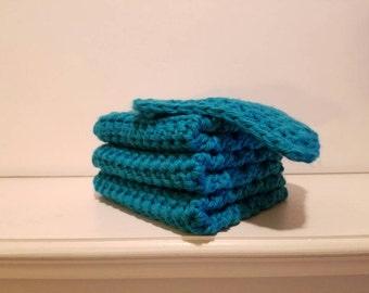 Crocheted dish cloths/wash cloths, dish sponge set,  3 solid colored dish cloths and 1 solid colored dish sponge, Multiple colors, Washable