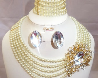 White Multi Layers Beads Party Jewelry Necklace Set