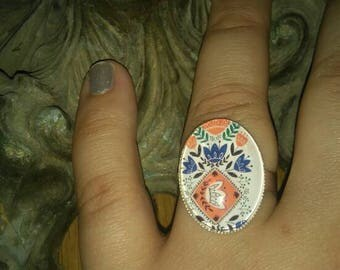 "Ring ethnic Silver ""flower"""